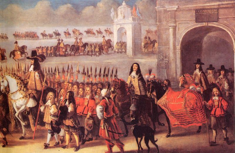 Coronation procession (detail) April 23, 1661. Charles II at left,
